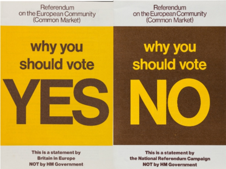 Leaflets with 'yes' and 'no' on them to signify joining the EU | Brexit EU leaflet collection | LSE library