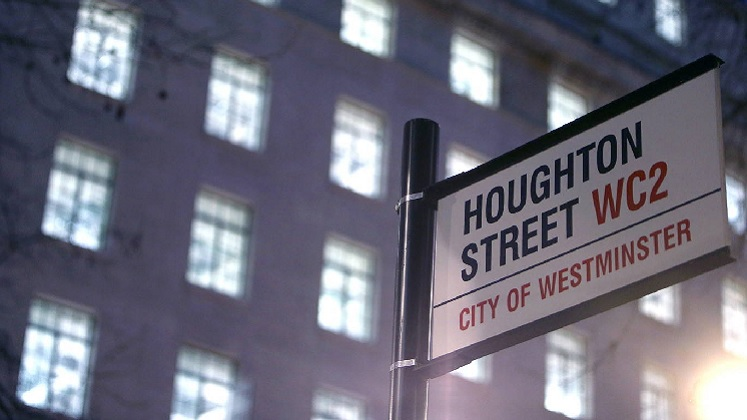 Houghton St sign at night