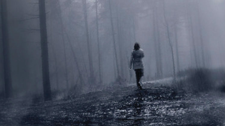 A black and white picture of a woman walking through the woods | Dark Chapter by Winnie M Li