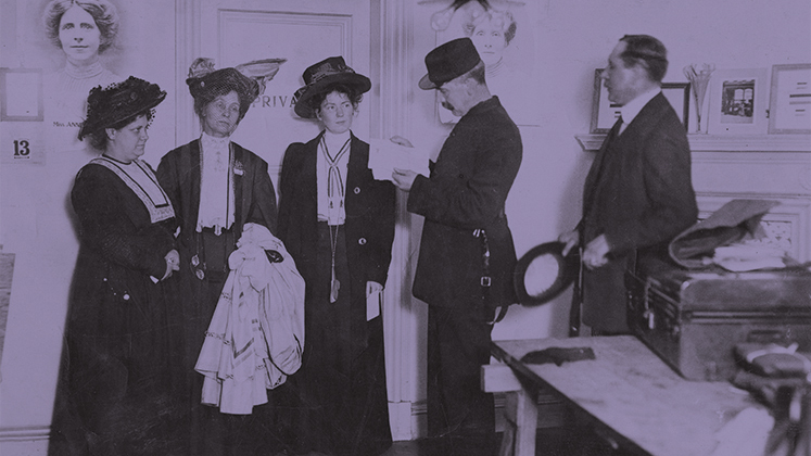 A group of suffragettes being arrested from an office in Clement's Inn