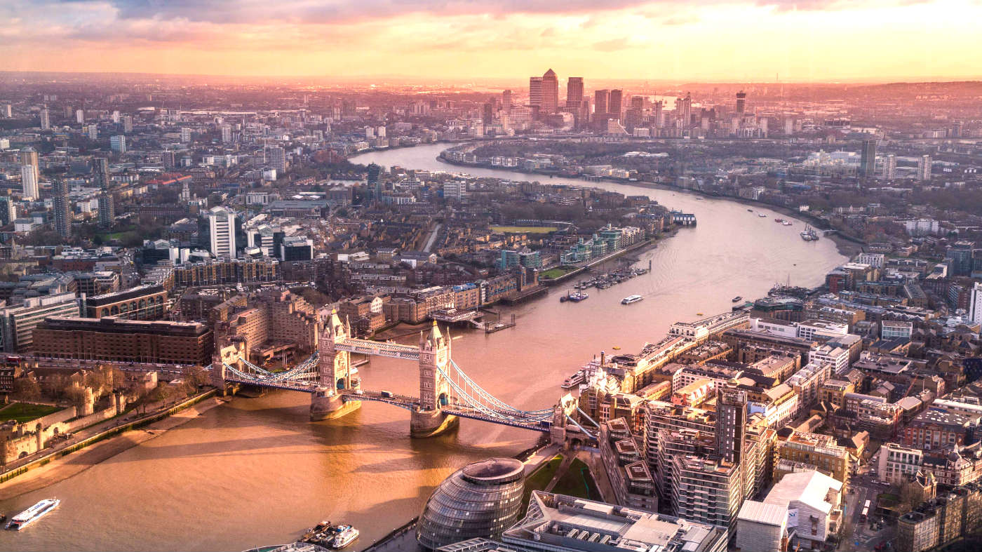 An aerial shot of London at sunset | LSE and London
