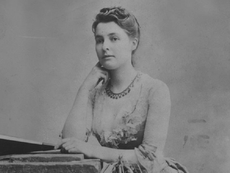 An old black and white photograph of Beatrice Webb in 1875.