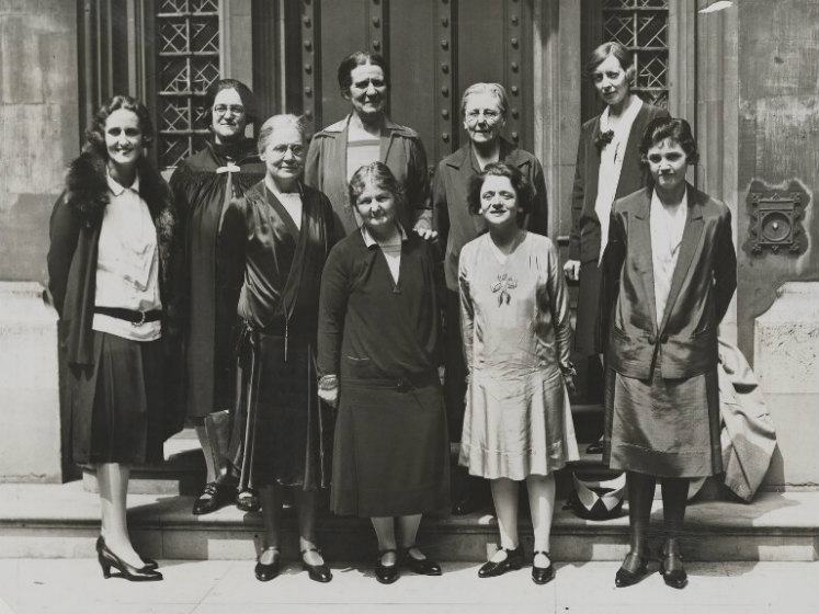 Women Labour MPs by Unknown photographer bromide print, 1929. Credit NPG. Front row, left to right: Lady Cynthia Mosley (1898-1933), Miss Susan Lawrence (1871-1947), the Rt. Hon. Margaret Bondfield (1873-1953), Miss Ellen Wilkinson (1891-1947), Miss Jenni