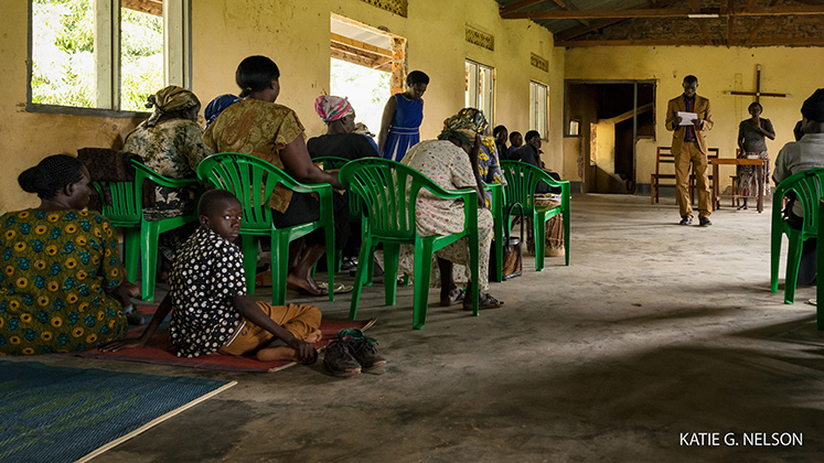 Displaced South Sudanese refugees worship in a church in northern Uganda