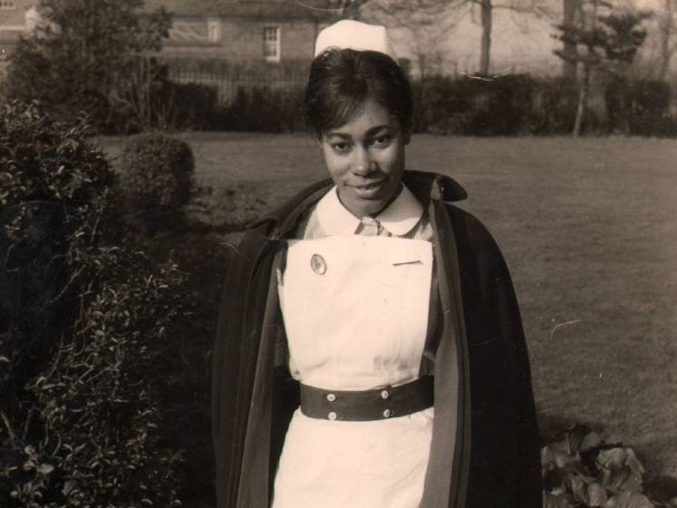 Black and white photo of Dawn Hill wearing her nurse uniform in the 1960s