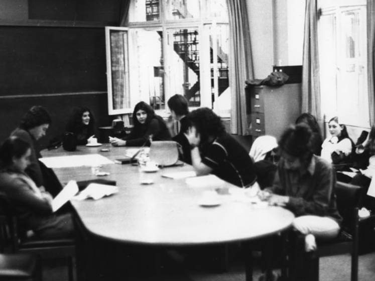 Black and white image showing students working in a social administration study room in 1973