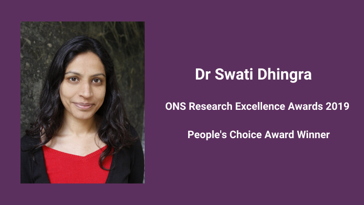 Swati Dhingra wins the People's Choice Award at the ONS Research Excellence Awards 2019