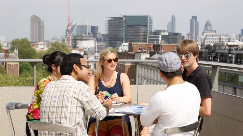 Students at LSE roof terrace