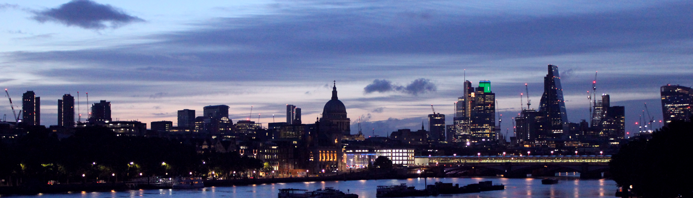 The view from Waterloo Bridge in the early morning looking towards the city