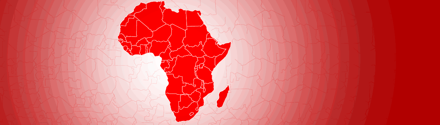 An abstract graphic showing an outline of Africa in LSE red in the middle of a pattern of concentric circles