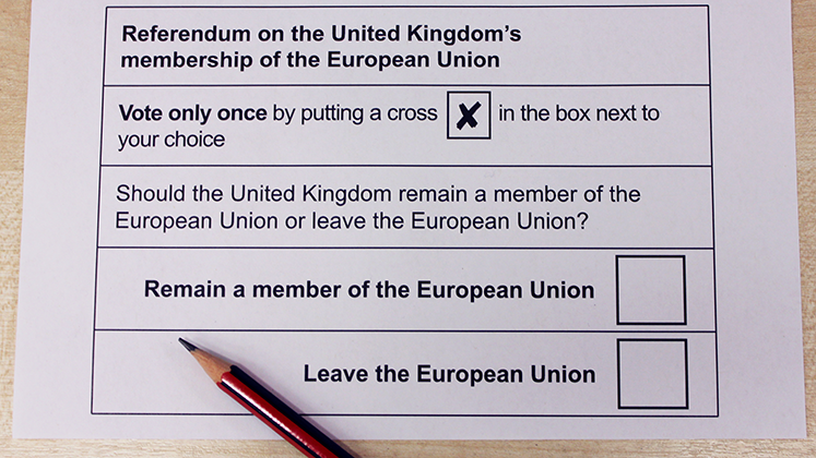 Photo of the UK EU Referendum voting card with a pencil ready to fill it in.