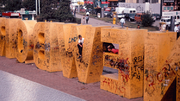 Image of the Newborn monument in Pristina, Kosovo.