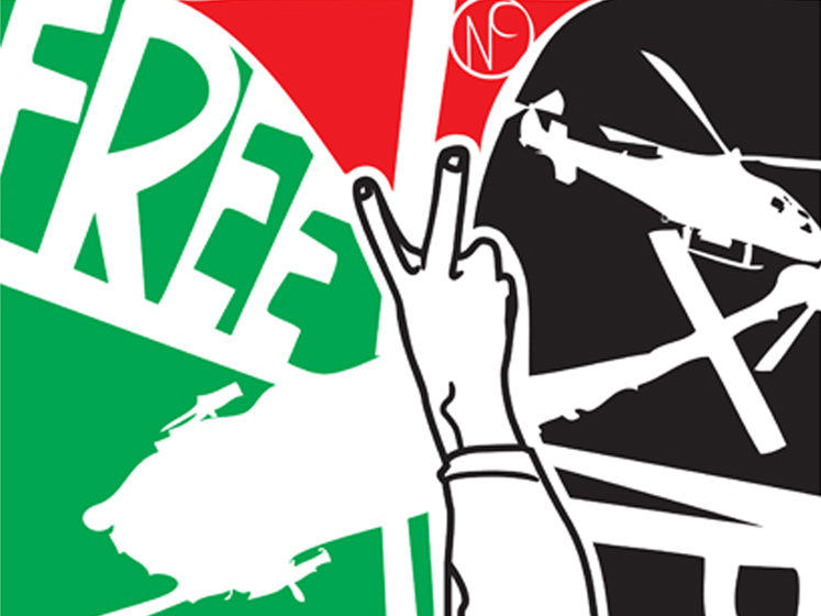 A section of a political poster saying 'Free Palestine'