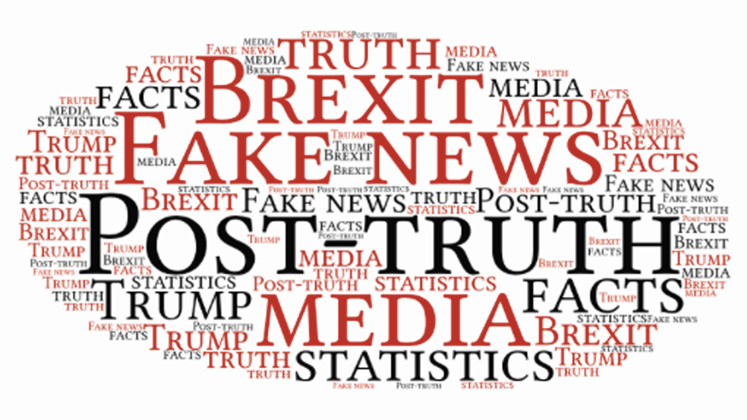 A word cloud including phrases such as 'post-truth', 'fake news', 'media' and 'facts'