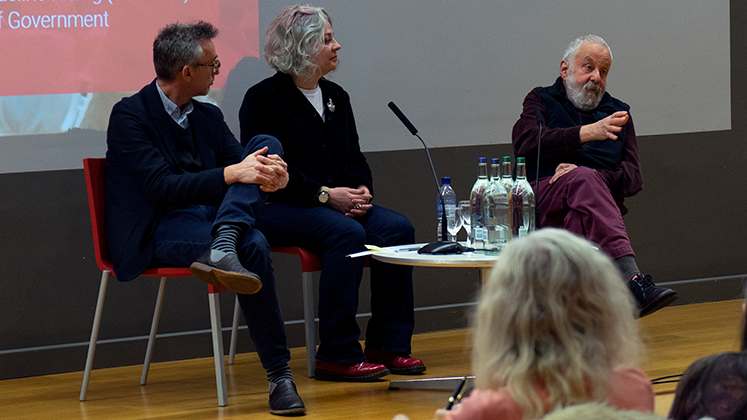 Mike Leigh, Jaqueline Riding and chair Jonathan Hopkin during the Peterloo Q&A