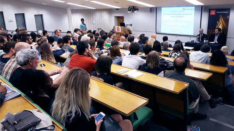 The crowd at Matthew D'Ancona's LSE Government in 2017
