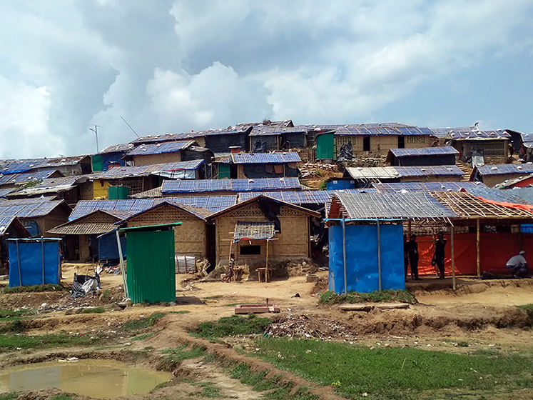 Landscape view of a Rohingya refugee camp in Bangladesh