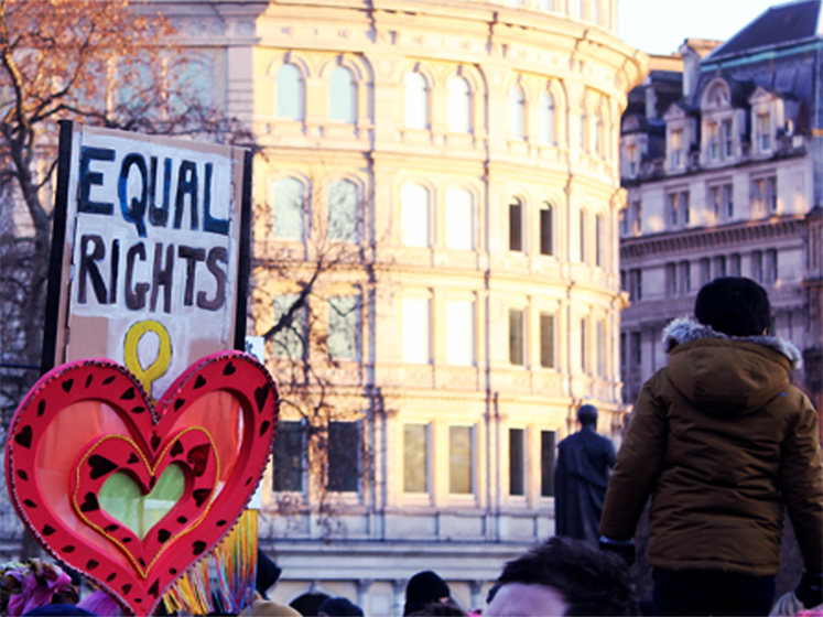 The crowd at a protest with a banner saying 'equal rights'