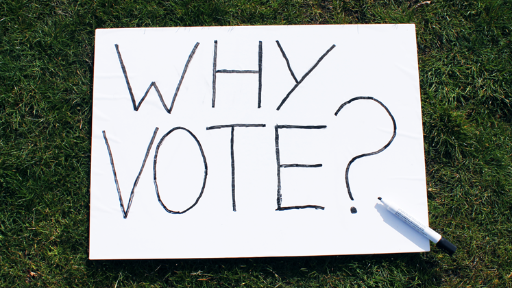 A pen and whiteboard with 'Why Vote?' written on it laying on some grass