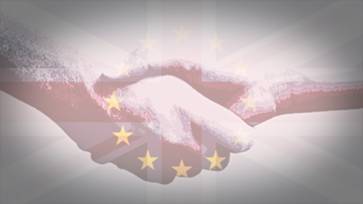 Image of a handshake set against a background of the EU flag the the Union Jack.
