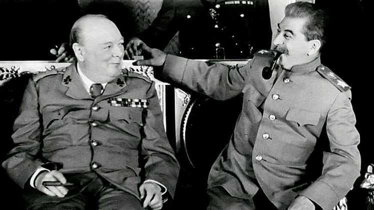 Winston Churchill and Joseph Stalin