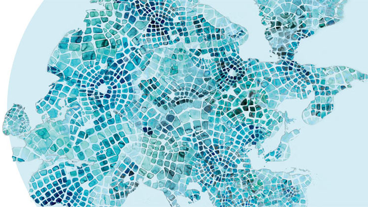 Dahrendorf Forum logo: European map made of blue tiles.