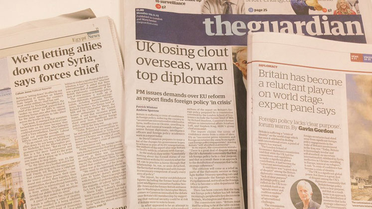 Newspapers showing coverage of LSE IDEAS reports