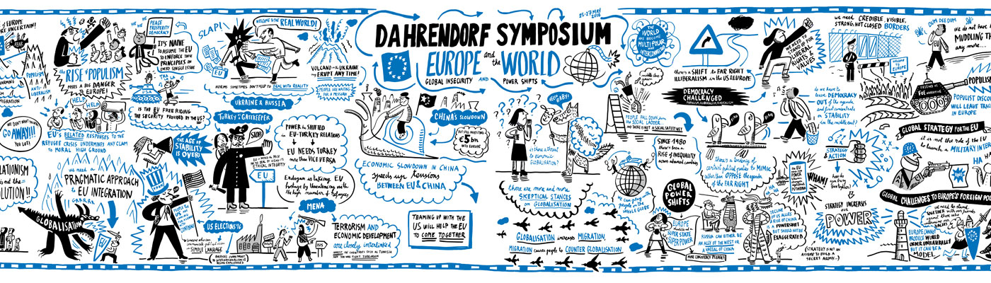 Cartoon by Jorge Martin from Dahrendorf Symposium