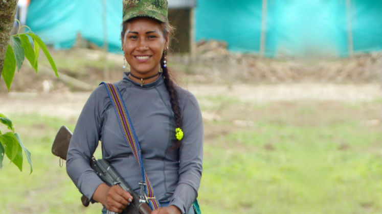 Colombian FARC member with a gun