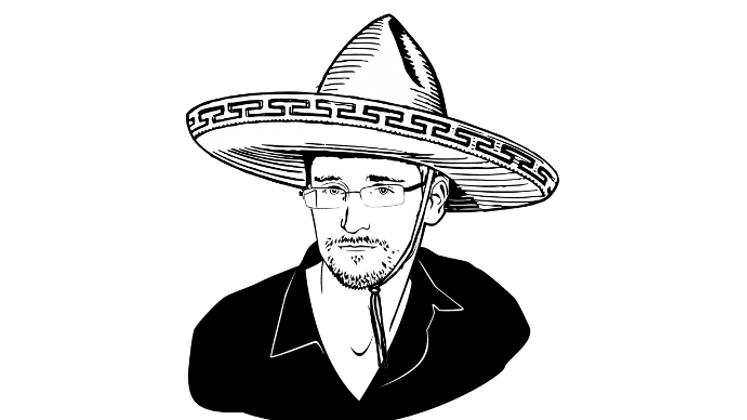 Image of Edward Snowden in a sombrero