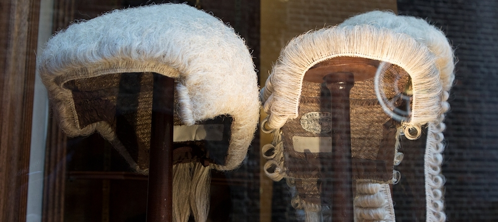 Judge's wigs in shop window