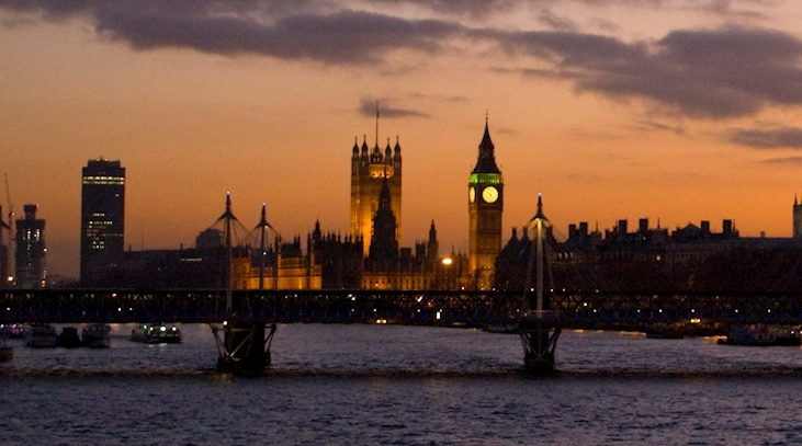 River Thames and Parliament by night