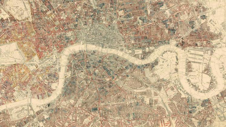 Charles Booth's poverty map of London showing from the Isle of Dogs in the east to Hyde Park in the west and Camden in the North to Peckham in the south.