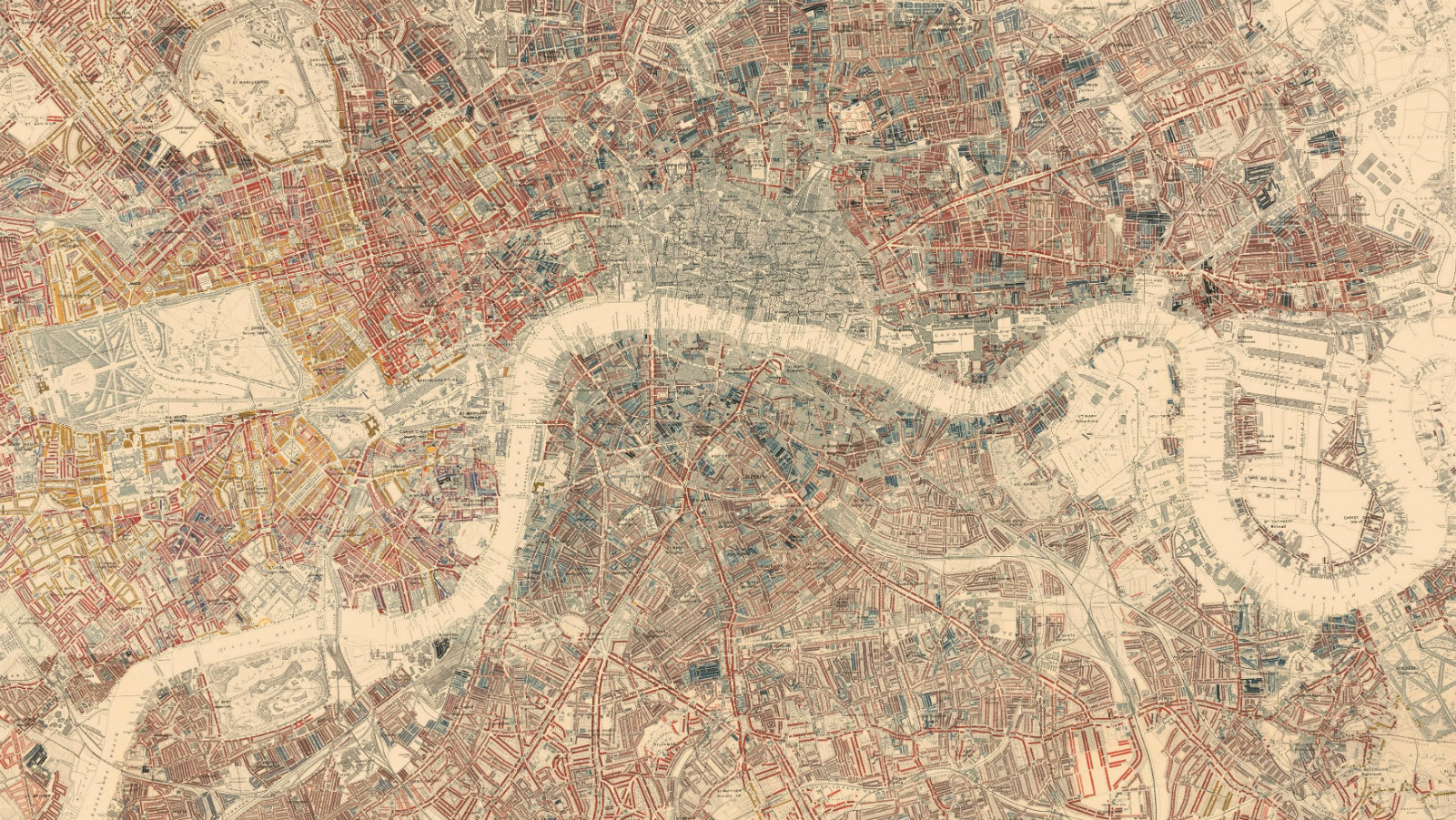 A colourful overhead map of London created by Charles Booth. The Thames is clearly visible. The various colours represent levels of social class as classified by the original researchers.