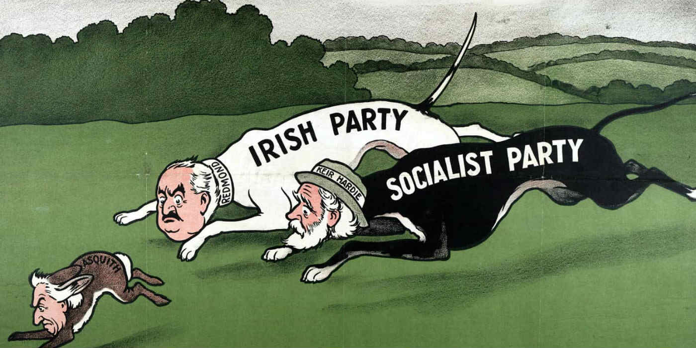 A cartoon of two politicians as dogs representing the Irish Party and Socialist Party chasing Asquith who is a hare