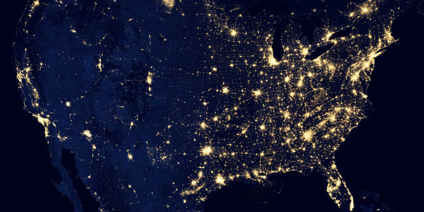 A night shot of the USA from space showing light pollution (or not) with the brightest and tightest areas of light on the east coast.