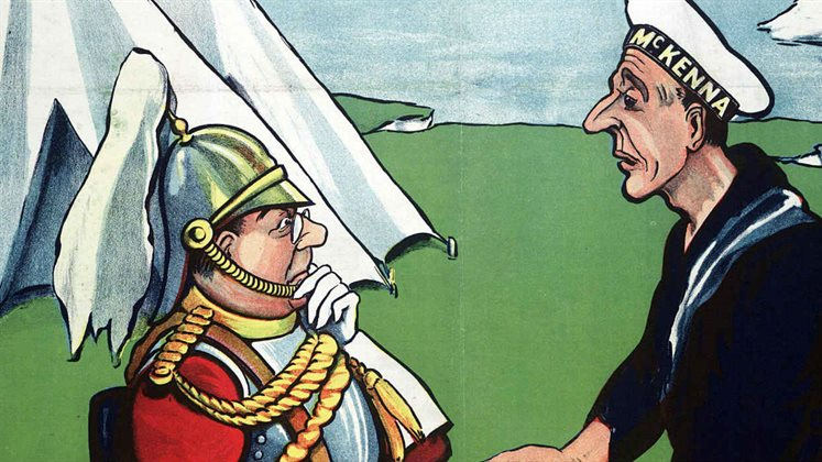 A cartoon of 2 military figures standing by (Dover) cliffs. One is from the army and the other is from the Navy.