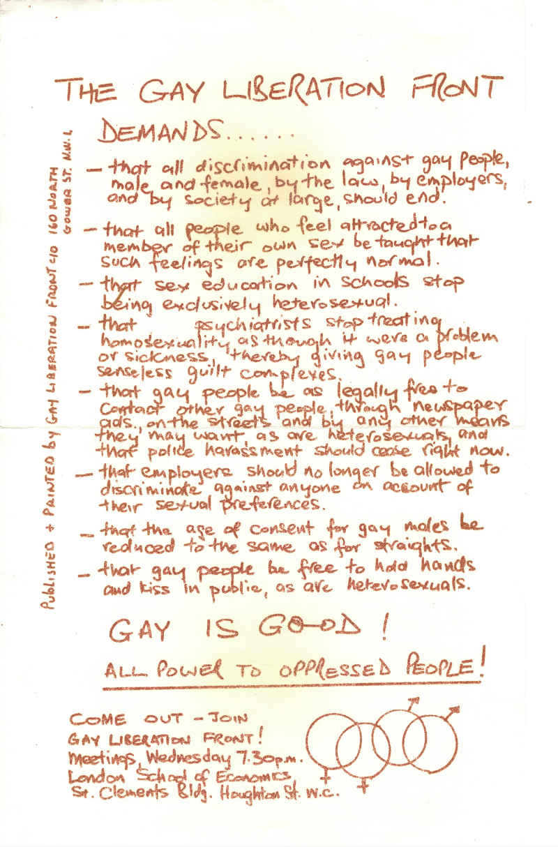 Handwritten list of demands by the Gay Liberation Front.