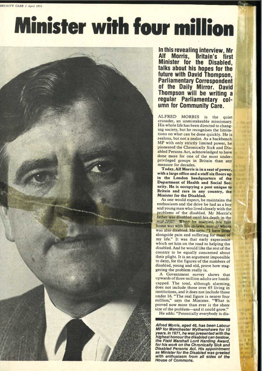 An article from Community Care, April 1974, entitled 'Minister with four million' and a picture of Alf Morris looking outward.