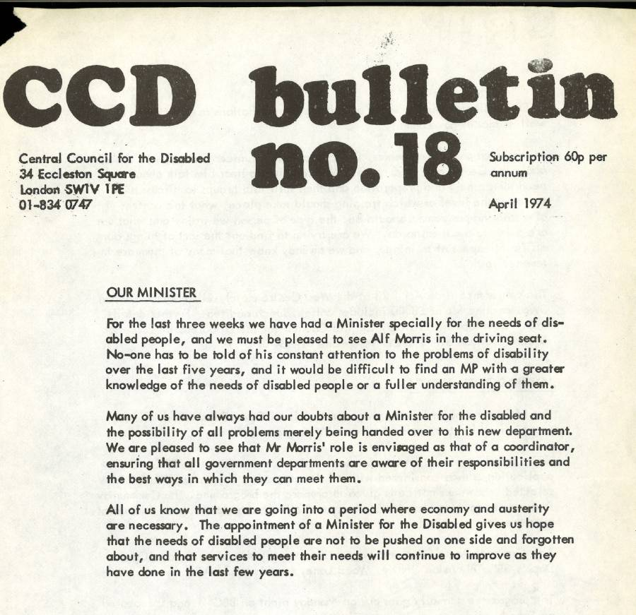 Front cover of the Central Council of the Disabled Bulletin, 1974