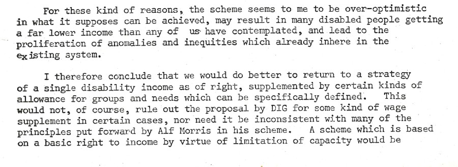 An extract from a memorandum sent by Peter Townsend to Alf Morris MP in 1973 continuing to argue for an income for people with disabilities 'by right'.