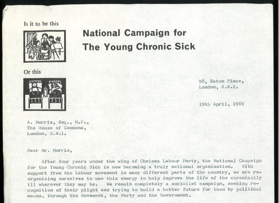 A letter from Marsh Dickson (Director of the National Campaign for The Young Chronic Sick) to Alf Morris MP, 1969