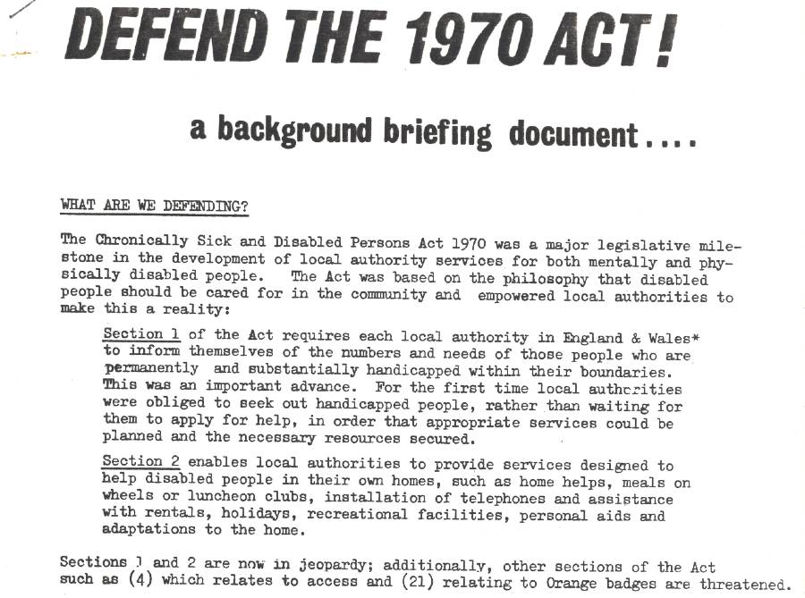 A flyer from a conference. The flyer is entitled 'Defend the 1970 Act!'