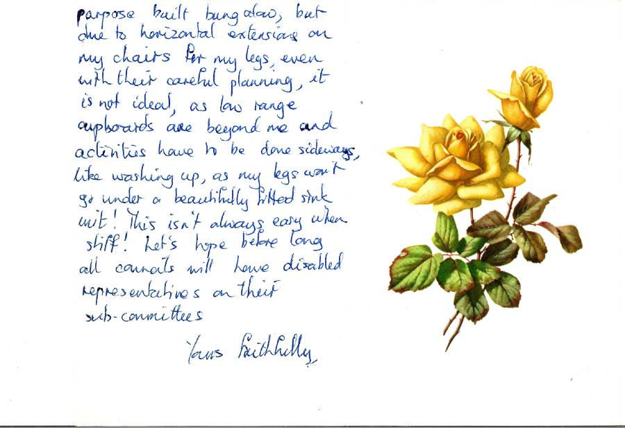 A handwritten letter to Alf Morris MP from a constituent and featuring a drawing of yellow flowers.