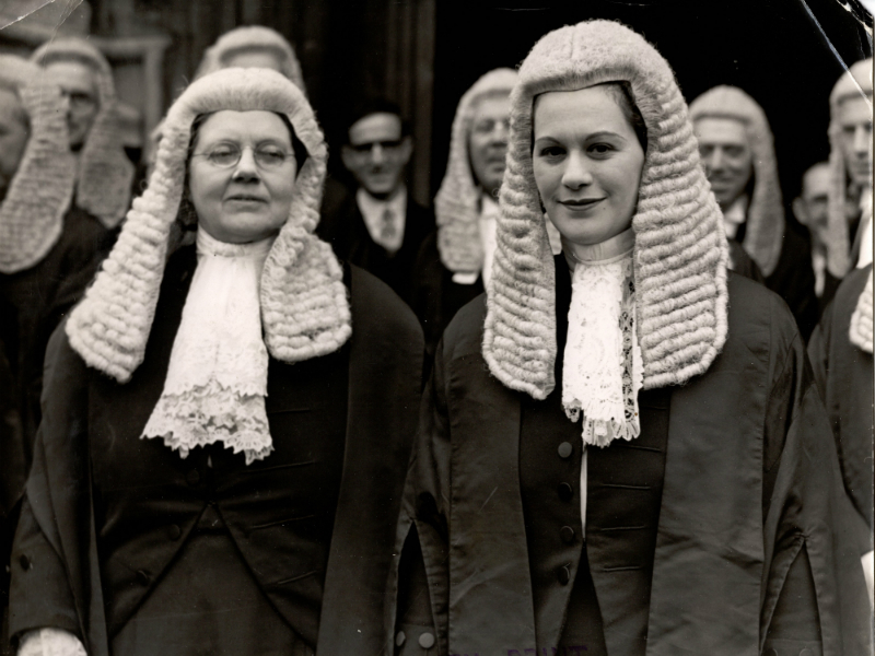 Helena Normanton and Rose Heilbron in legal dress