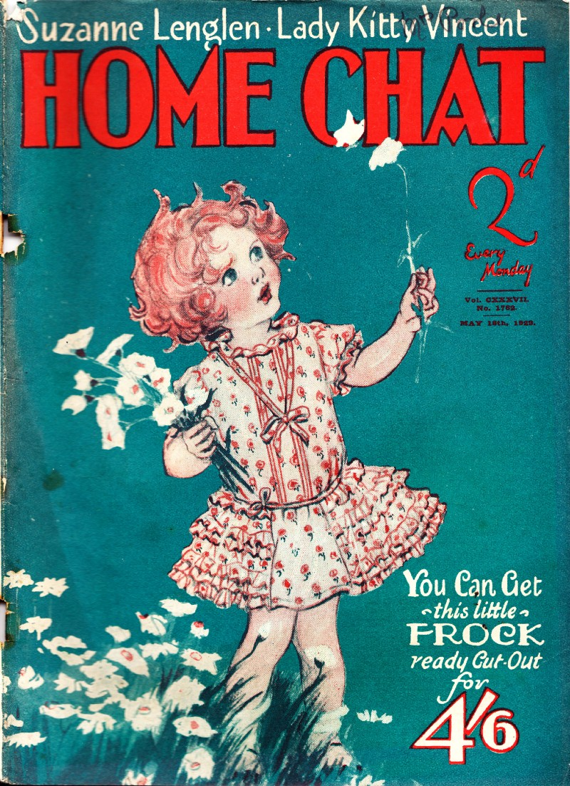 The front cover of Home Chat magazine including a little girl holding flowers