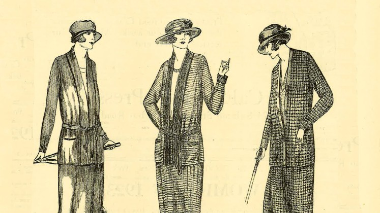 A drawing of three women in knitted suits and hats