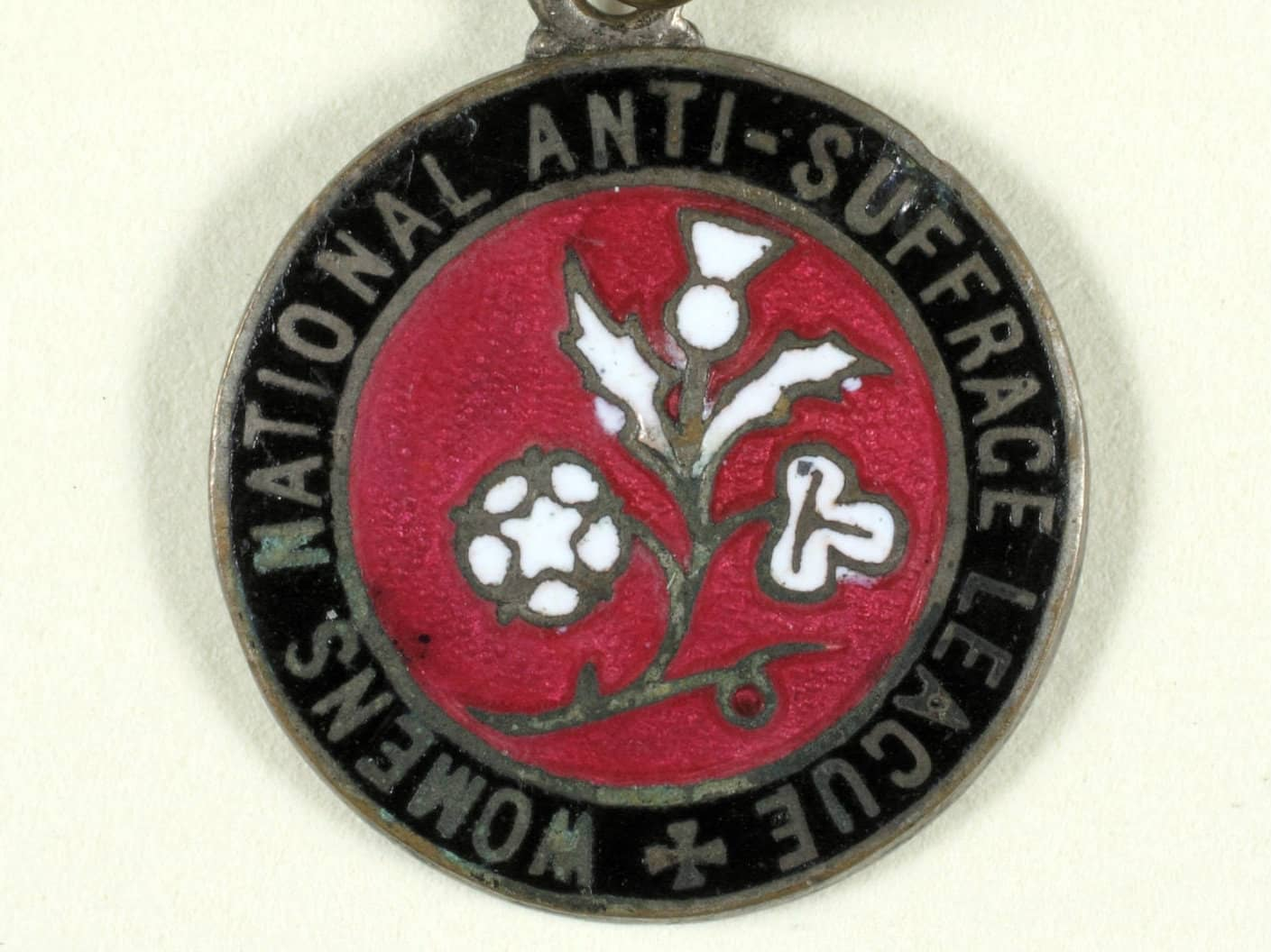 An anti-suffrage movement badge
