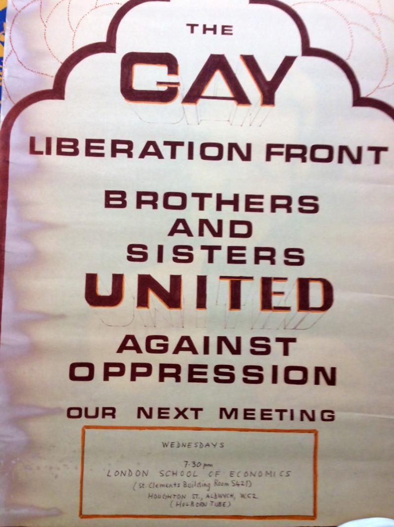 A poster advertising a Gay Liberation Front meeting at LSE