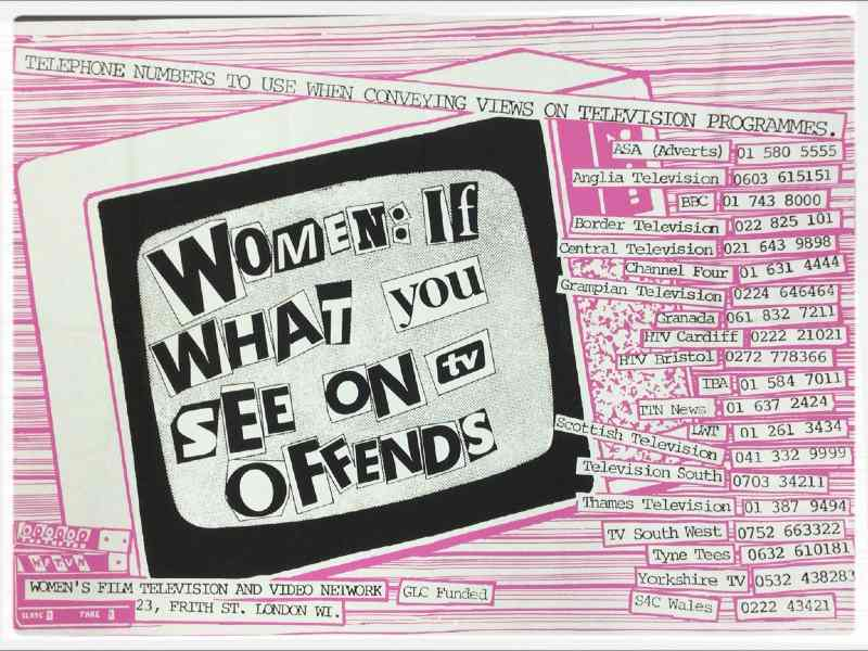 "Poster with drawing of TV displaying the words ""Women: if what you see offends"", and a list of phone numbers to the right side."